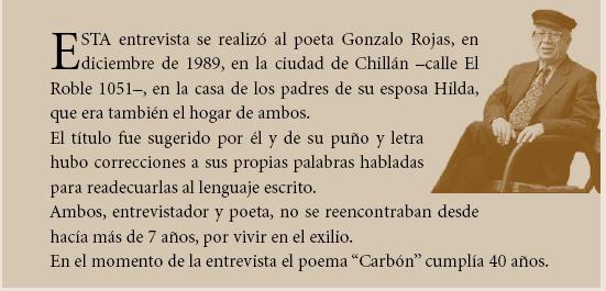 """Gonzalo Rojas: Transcripción de un balbuceo sobre el poema """"Carbón"""